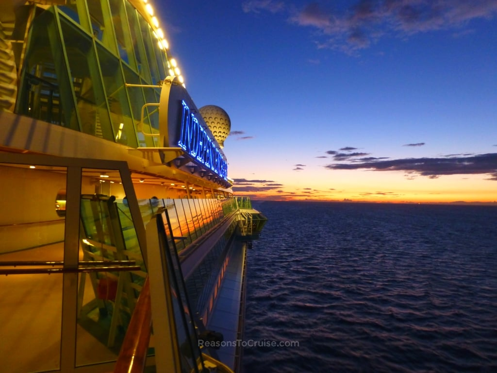 Independence of the Seas at sunset