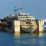 Costa Concordia supported in port