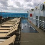 Sun deck and a shuffleboard area