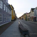 A Tromsø street with traditional buildings either side