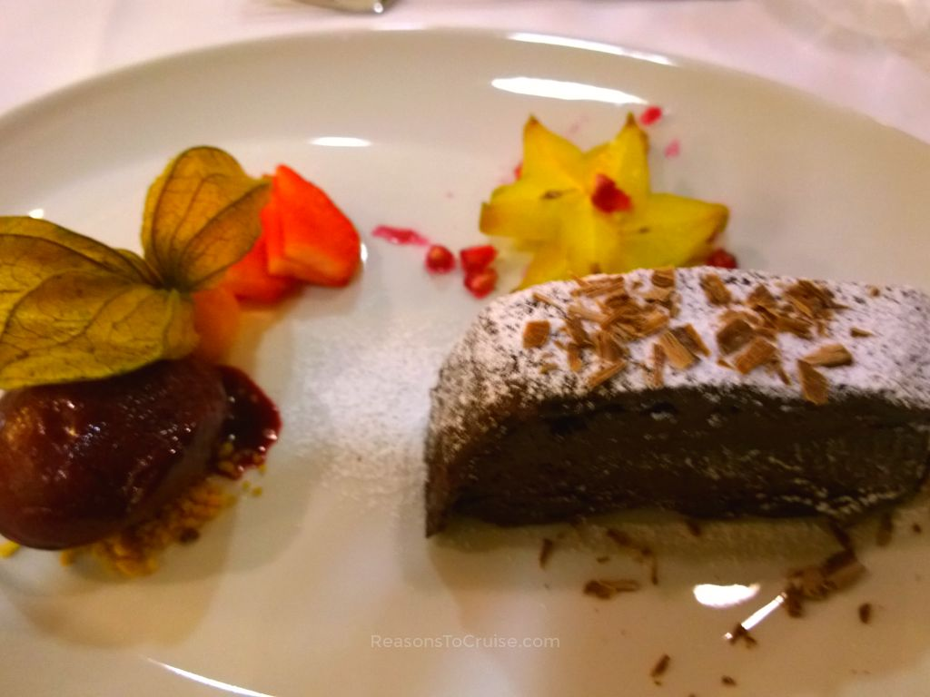 Chocolate terrine with blueberry sorbet