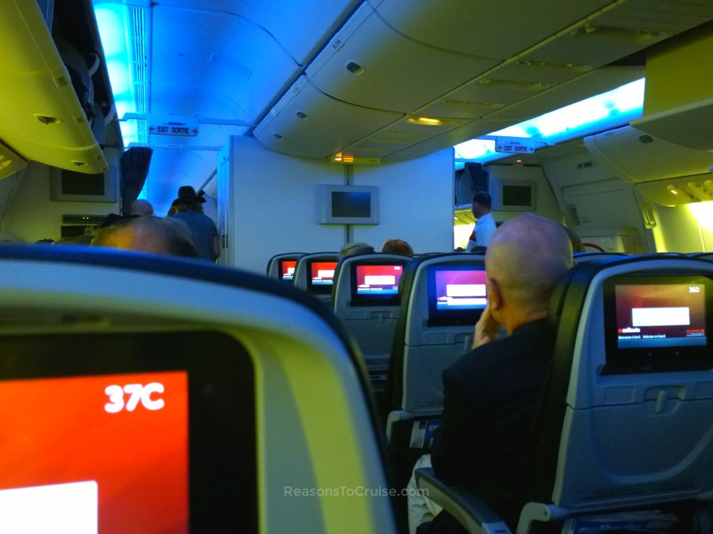 Soothing blue mood lighting on boarding the return journey