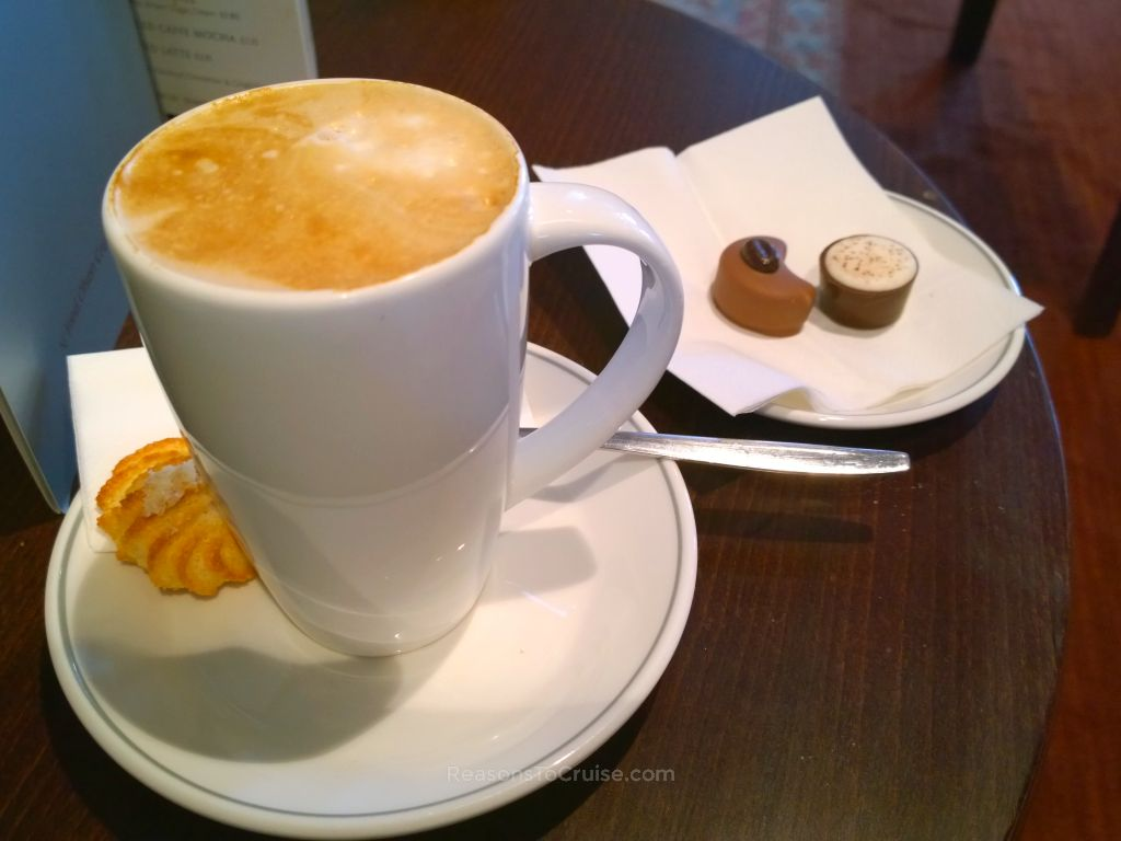 Coffee and chocolate in the Bookmark Café