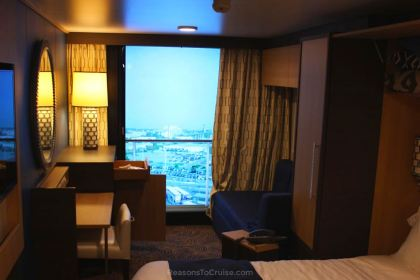 Inside cabin with virtual balcony