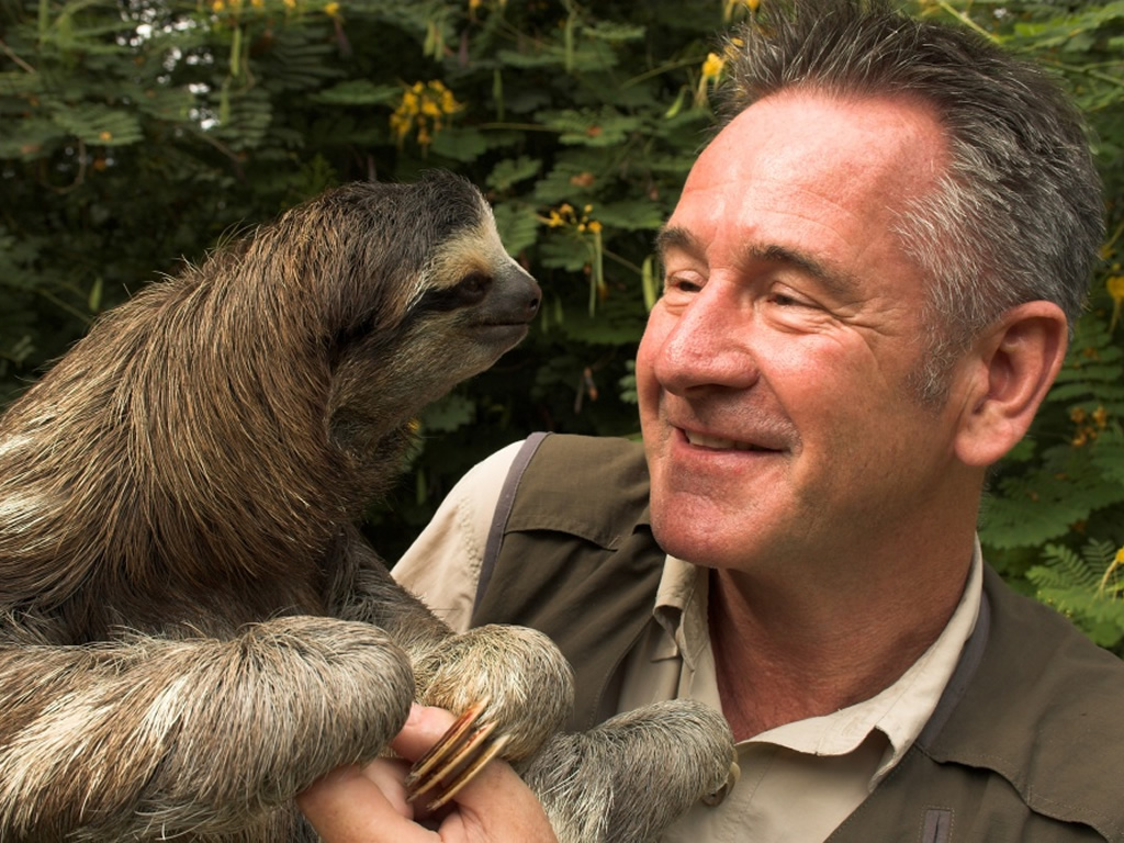 Nigel Marven with a sloth