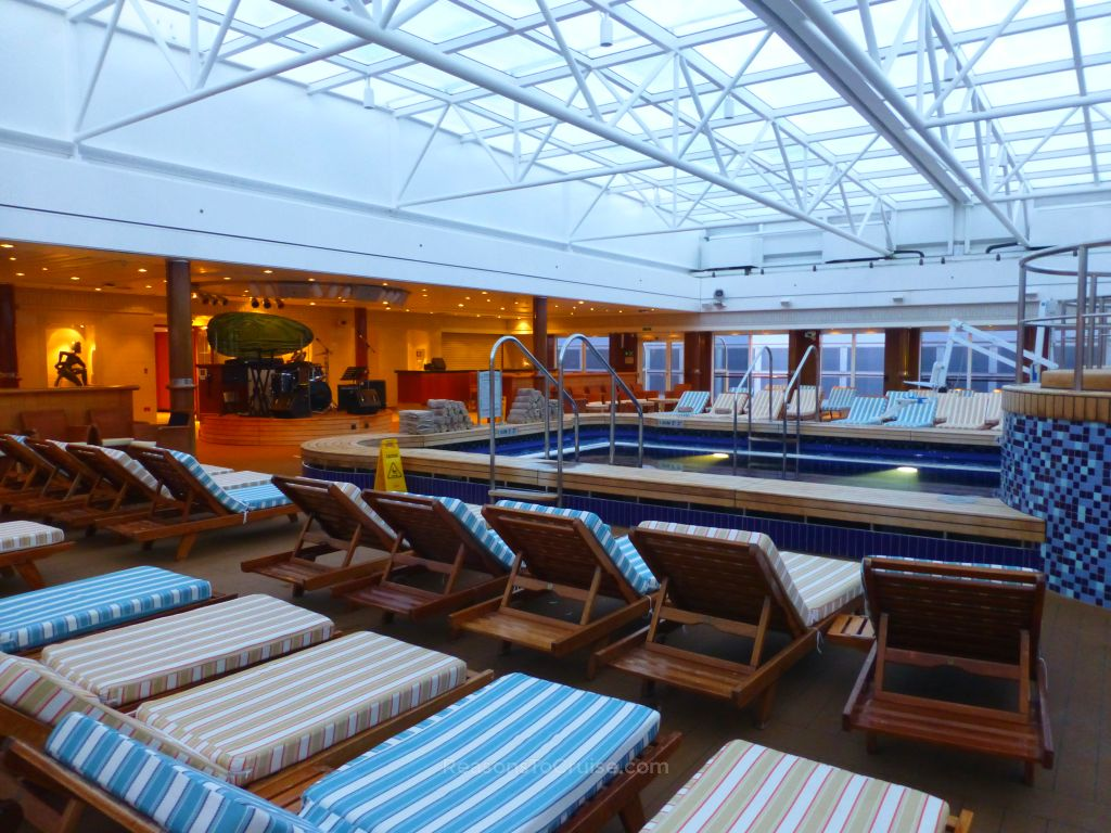 Queen Mary 2's Pavilion Pool with retractable roof