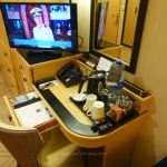 Tea and coffee facilities in Cabin 6201 on Queen Mary 2