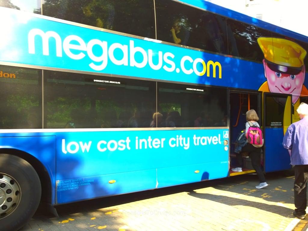 Double-decker Megabus coach to London Victoria