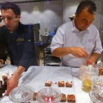 Jean-Claude Canestrier and Romain Fournel at the Jean Philippe Chocolate Cafe on MSC Meraviglia
