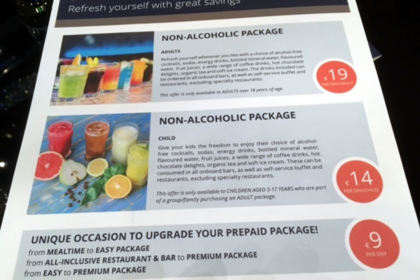 MSC Drinks package upgrade prices onboard